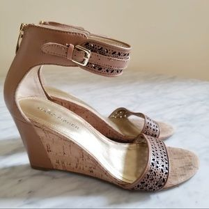 Marc Fisher Coley Tan Perforated Cork Wedges